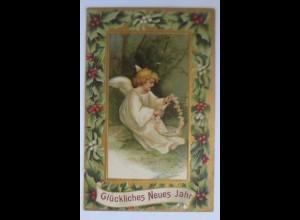 Neujahr, Engel, Blumenschmuck, Stechpalmen, 1907, Prägekarte ♥ (52921)