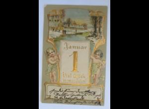 Neujahr, Jugendstil, Engel, Kalender, Landschaft, 1906, Prägekarte ♥ (12181)