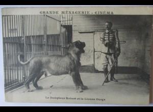 Zirkus Tierdressur, Grande Menagerie Cinema, Dompteur Robert ca. 1900 (11336)