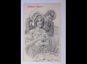 """Ostern, Frauen, Männer, Mode, Hase, Weidenkätzchen"" 1906 ♥ (63041)"