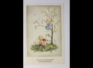 Geburtstag, Kinder, Engel, Elfen, 1950, L.Döring ♥ (66681)