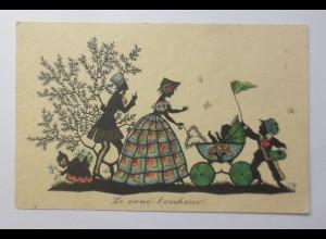 Scherenschnitt, Frauen, Männer, Kinder, Kinderwagen, 1933, Primus ♥ (14449)