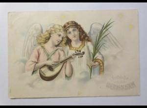Weihnachten, Engel, Mandoline, Wolken, 1907, Prägekarte ♥ (15458)