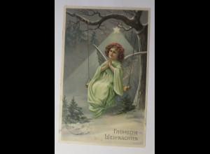 Weihnachten, Engel, Schaukel, Stern, 1911, Prägekarte ♥(13159)