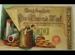 Neujahr, Geldschein, Münzen, 1911, Prägekarte ♥ (20347)