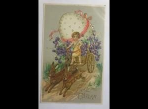 Ostern, Wagen, Hase, Ostereier, Veilchen, 1911, Prägekarte ♥ (14766)