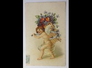 Valentinstag, Engel, Korb, Veilchen, Herzen, 1903, Prägekarte ♥ (14847)