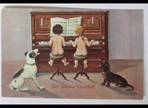 Blumen, Kinder, Dackel, Hund, Ein fideles Quartett, 1912, sig. LS. ♥ (17806)