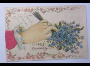 Ostern, Blumen, Vergissmeinnicht, 1905, Prägekarte ♥ (56442)