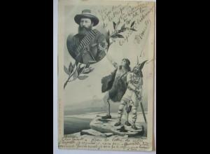 Künstlerkarte Mailick, Burenkrieg, Germanen und General Koos de la Rey (49602)