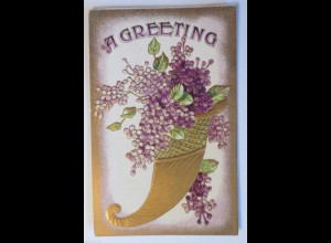 """""""Füllhorn, Blumen, Flieder""""1905, Prägekarte ♥"""