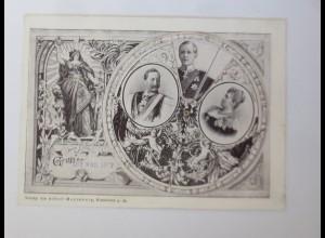 Adel Preußen Kaiser Wilhelm mit Familie, Mechanische Drehkarte 1897 ♥ (21302)