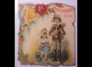 Kaufmannsbild, Werbeschild, Biscuits Germain Lyon, 20 x 18,5 cm 1900 ♥ (A2)