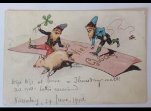 Neujahr, Zwerge, Schwein, Kleeblatt, 1900, Ca Hans Starcke Jena ♥ (36893)