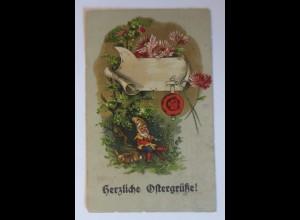 Ostern, Zwerge, Hase, Blumen, Siegel, 1918 ♥ (20732)