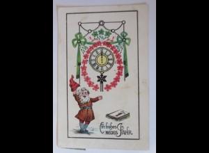 Neujahr, Zwerge, Uhr, Kalender, 1913 ♥ (34405)