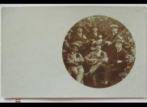 Junge Männer Musik Geige Mandoline, Fotokarte 1910 aus Bensheim (14361)