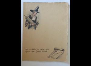 Menükarte, Menu, Handgemalt Frankreich ca.1900 ♥ (X1)