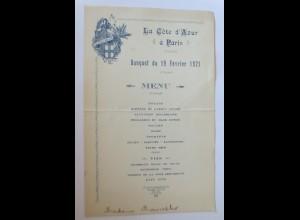 Menükarte, La Cote d´ Azur a Paris 1921 Frankreich ♥ (X1)