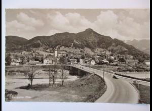 Lenggries mit Geierstein und Isarbrücke, Fotokarte 1961 (5442)