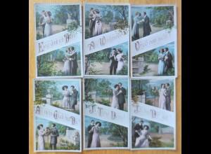 6. Karten, Frauen, Männer, Mode, Liebe, 1910 ♥ (61567)