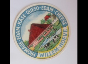 Reklame Aufkleber Fromage-Edam Käse Queso Wilhelm Hoeve 1950 ♥ (4075)