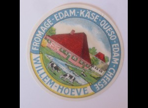Reklame Aufkleber Fromage-Edam Käse Queso Wilhelm Hoeve 1950 ♥ (52214)