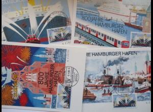 Hamburg Hafen 4 Philartes Künstlerkarten im Folder (15528)