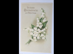 Geburtstag, Blumen, Maiglöckchen, 1910, Prägekarte ♥ (31284)
