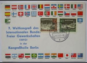 Politik Gewerkschaften, 7. Weltkongreß IBFG Berlin 1962 Sonderkarte (14627)