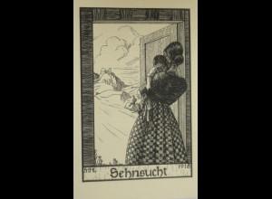 """""""Künstlerkarte"""" 1918, Marga Hertz-Lücker, Sehnsucht ♥ (14848)"""