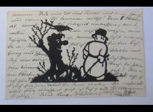 Scherenschnitt, Winter ade! scheiden tut weh, 1932, A.M. Schwindt ♥ (11662)