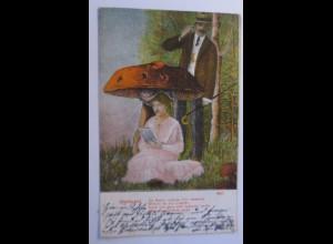 Künstlerkarte, Frauen, Männer, Mode, Glückspilz, Pilz, Spruch, 1908 ♥ (50501)