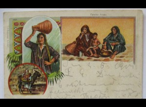 Arabien, Arabische Familie, Esel, Litho 1901 (57175)