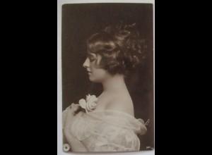 Frau mit Rose, Fotokarte Uranotypie, Leipzig 1922 (63762)