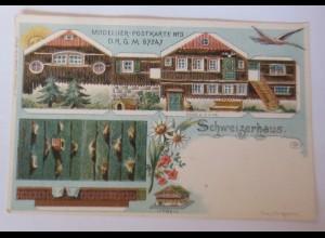 Künstlerkarte Modelier-Postkarte Schweizerhaus Modell 1900, W.Schlemmer♥(72573)