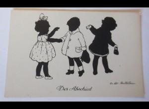 Scherenschnitt, Kinder, Der Abschied, 1920, O.v. Alt Stutterheim ♥ (69678)