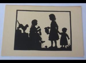 Scherenschnitt, Kinder, Plauderstündchen, 1920, Anna Schirmer ♥ (64249)