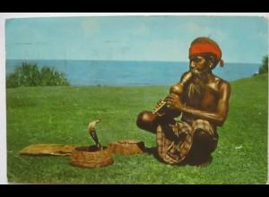 Ceylon Schlangen Schlangenbeschwörer Snake Charmer, Fotokarte 1960 (27024)