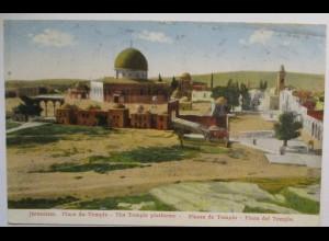 Palästina Judaika, Tempel Jerusalem, gelaufen 1928 nach Kleinlangheim (62664)