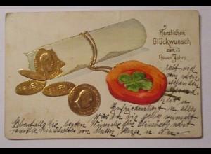 Neujahr, Münzen, Siegel, Kleeblatt, 1900, Prägekarte ♥ (37437)