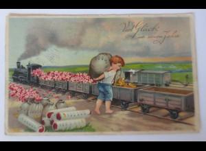 Neujahr, Kinder, Mode, Eisenbahn, Lokomotive, 1912 ♥ (59646)