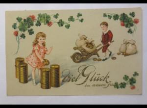 Neujahr, Kinder, Mode, Geld, Münzen, Kleeblatt, 1917 ♥ (44143)