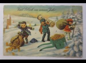 Neujahr, Kinder, Mode, Geld, Münzen, 1930 ♥ (23544)