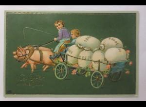 Neujahr, Kinder, Mode, Schwein, Kutsche, Münzen, 1907, Golddruck ♥ (49810)