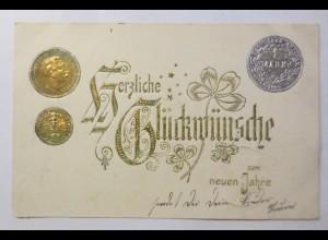 Neujahr, Münzen, Kleeblatt, 1904, Golddruck ♥ (49805)