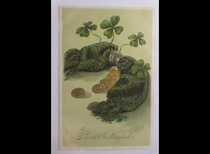 Neujahr, Münzen, Kleeblatt, 1908, Prägekarte ♥ (49801)