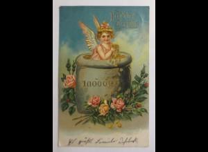 Neujahr, Engel, Sack, Münzen, Rosen, 1908, Prägekarte ♥ (32394)