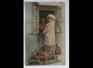 Neujahr, Kinder, Mode, Münzen, Schlitten, Fenster, 1929, Golddruck ♥ (42792)