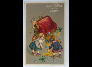 Neujahr, Kinder, Mode, Geld, Münzen, Geldbeutel, 1911, Prägekarte ♥ (32535)